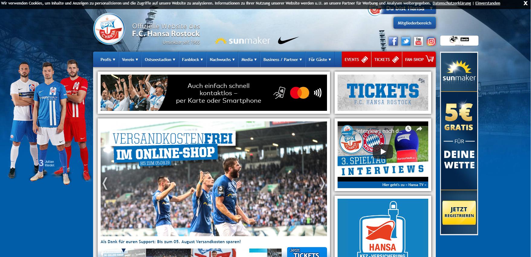 Hansa Rostock Cookie Banner