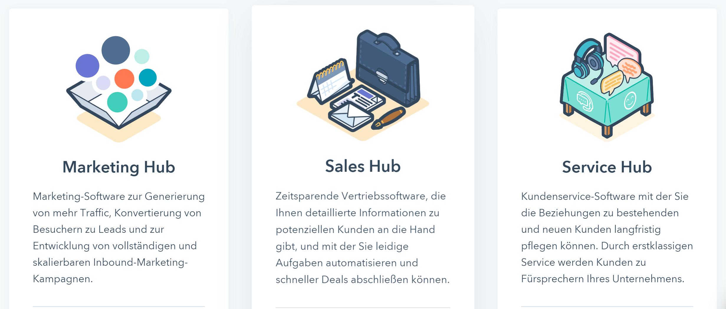 HubSpot bietet einen Marketing Hub, Sales Hub und Service Hub an
