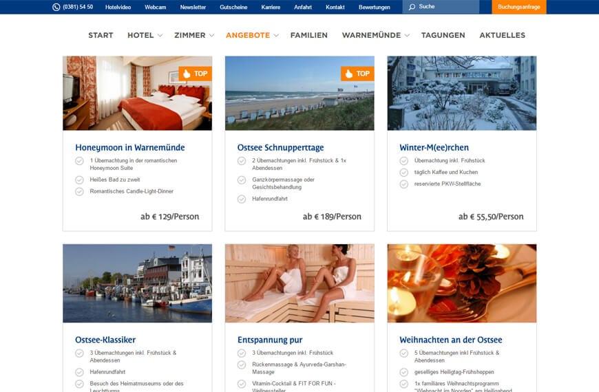 Arrangements auf der Website vom Hanse Hotel Warnemünde