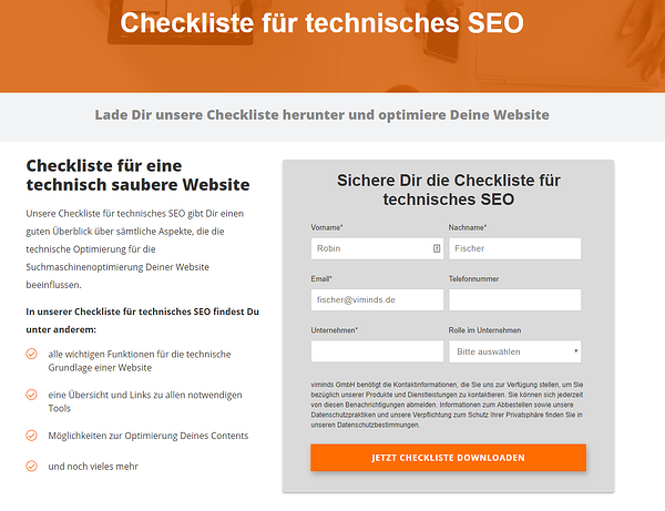 Landingpage TOP-Checkliste