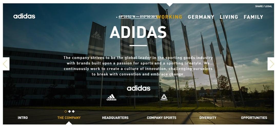 Die Website von ADIDAS