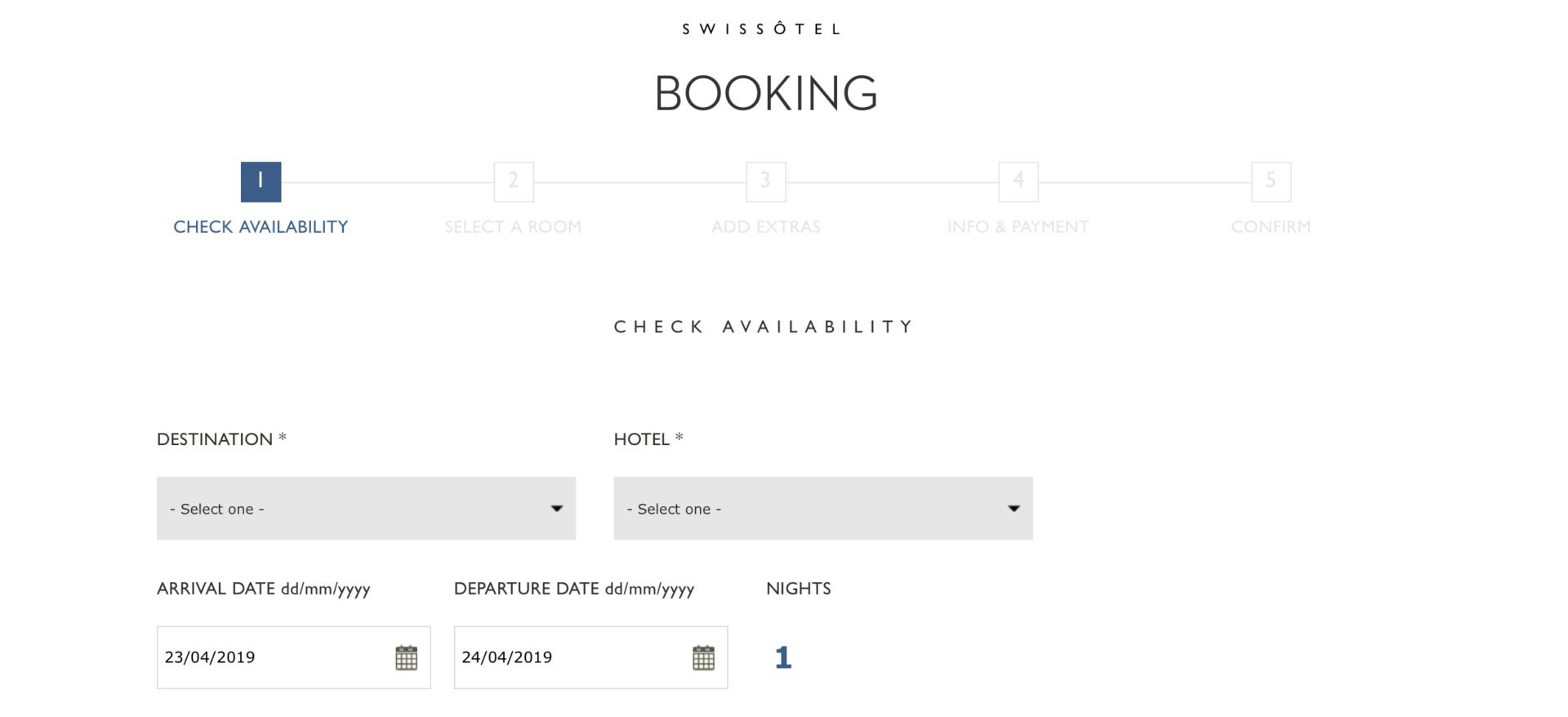 Eingabe für eine Hotelbuchung