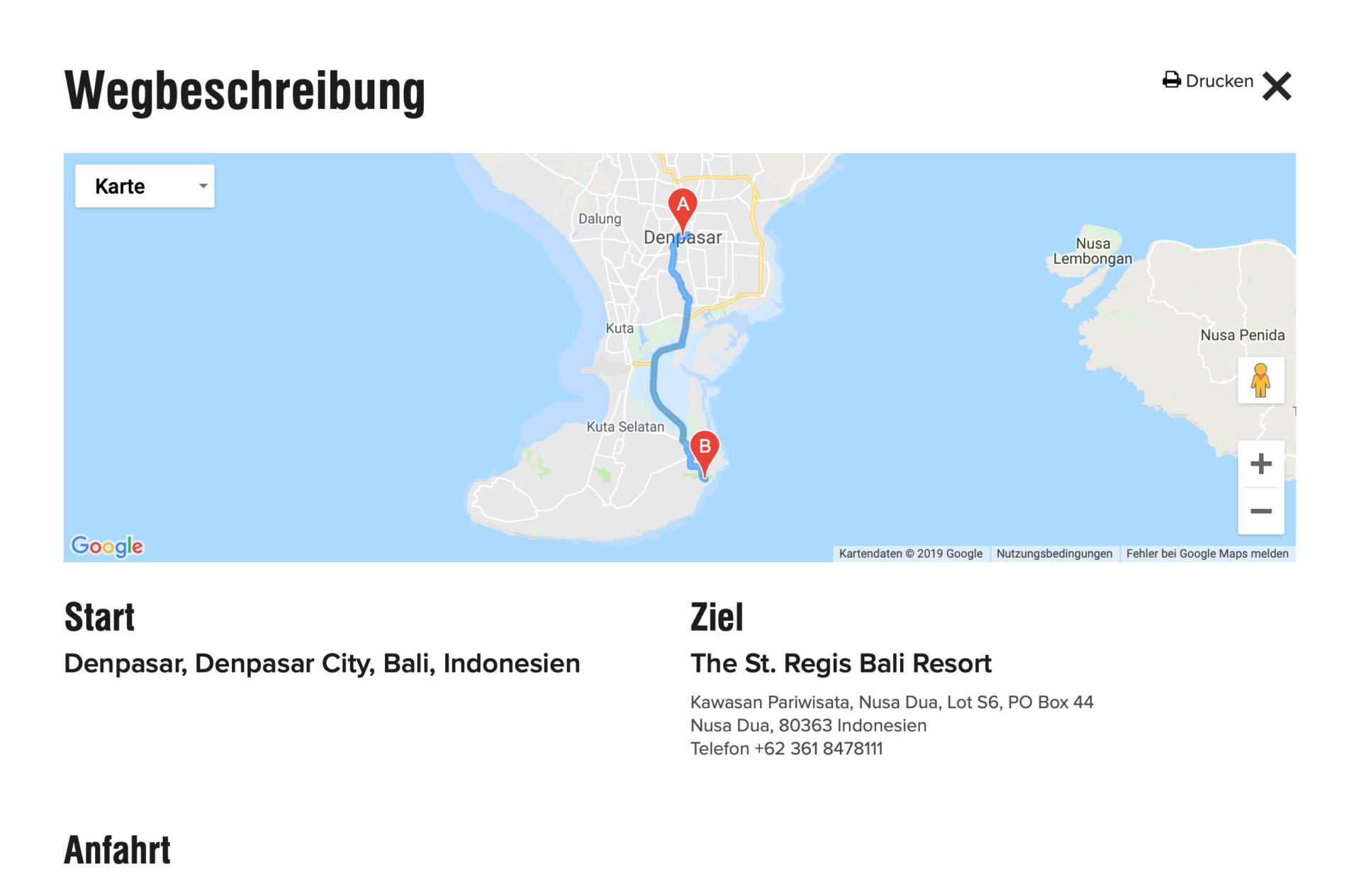 Wegbeschreibung St. Regis Bali Resort