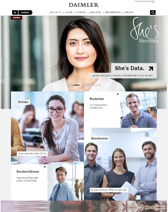 Die Karriere-Website von Daimler